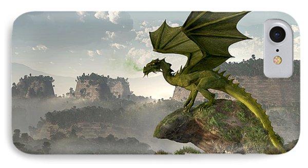 Green Dragon IPhone Case by Daniel Eskridge