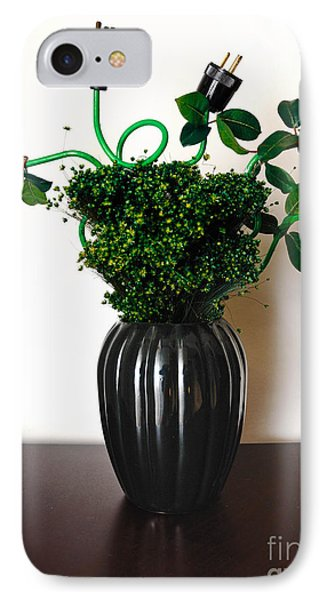 Green Energy Floral Arrangement Of Electrical Plugs Phone Case by Amy Cicconi