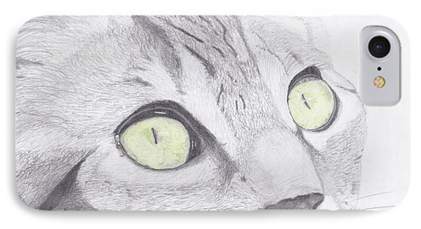 Green Eyed Cat IPhone Case by David Smith