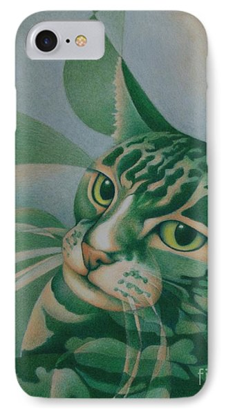 IPhone Case featuring the painting Green Feline Geometry by Pamela Clements
