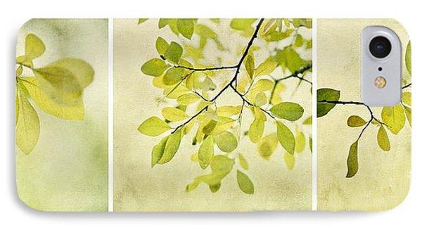 Green Foliage Triptychon Phone Case by Priska Wettstein