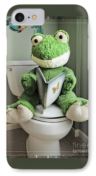 Green Frog Potty Training - Photo Art IPhone Case by Ella Kaye Dickey