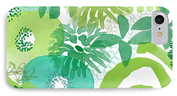 Green Garden- Abstract Watercolor Painting IPhone Case by Linda Woods