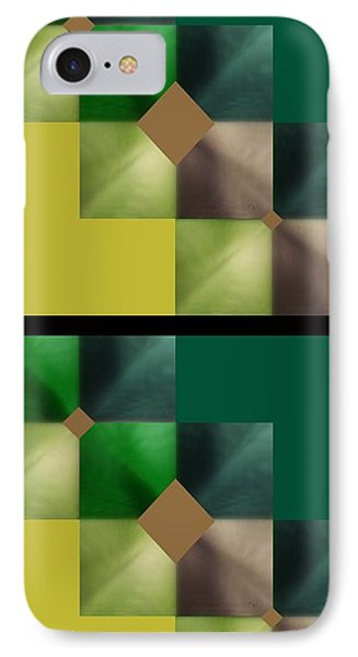 Green Glow Check IPhone Case by Ann Calvo