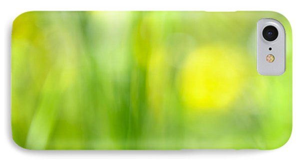 Green Grass With Yellow Flowers Abstract Phone Case by Elena Elisseeva