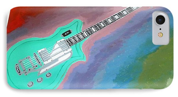 IPhone Case featuring the painting Green Guitar by Magdalena Frohnsdorff