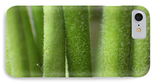 IPhone Case featuring the photograph Green Hairy Stems Abstract by Eden Baed