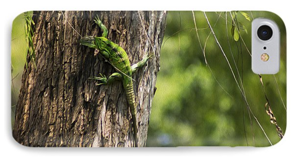 Green Iguana IPhone Case by Aged Pixel