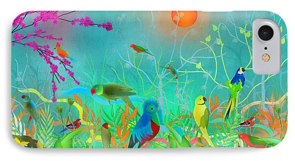 Green Landscape With Parrots - Limited Edition Of 15 IPhone Case by Gabriela Delgado