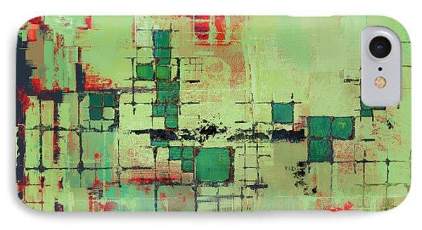 Green Lattice Abstract Art Print Phone Case by Karyn Lewis Bonfiglio