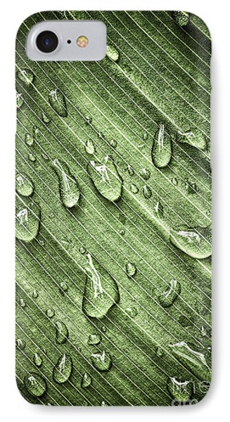 Green Leaf Background With Raindrops Phone Case by Elena Elisseeva