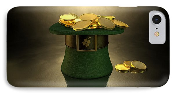 Green Leprechaun Hat Filled With Gold Coins IPhone Case