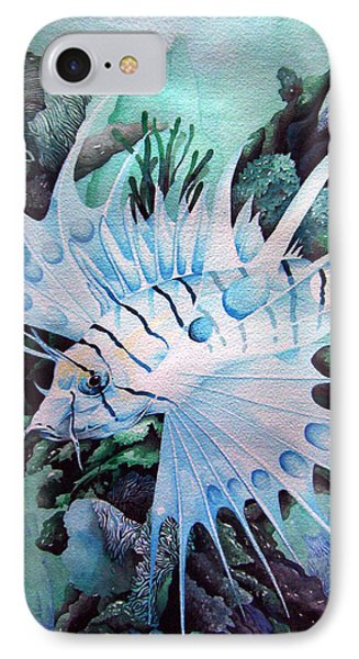Green Lionfish IPhone Case by William Love