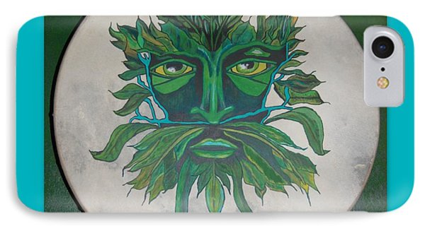 IPhone Case featuring the painting Green Man On Bodhran by Linda Prewer