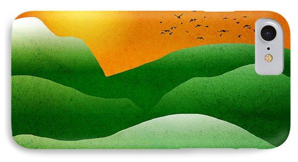 Green Mountain Sunrise Landscape Art IPhone Case by Christina Rollo