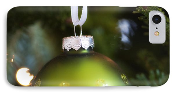 Green Ornament Hanging In Tree IPhone Case by Birgit Tyrrell