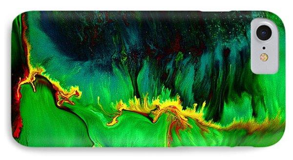 Green Panoramic Horizontal Abstract Art Lifeline By Kredart IPhone Case by Serg Wiaderny