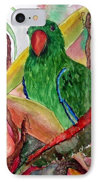 IPhone Case featuring the painting Green Parrot by Lil Taylor