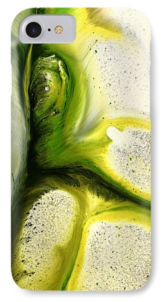 Green Peacock Feather Abstract Wall Art By Kredart IPhone Case by Serg Wiaderny