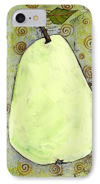 Green Pear Art With Swirls IPhone Case by Blenda Studio