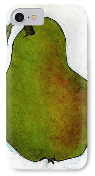 Green Pear On White IPhone Case by Blenda Studio
