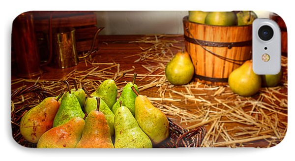 Green Pears In Rustic Basket IPhone Case