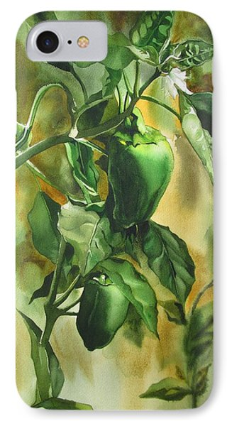 IPhone Case featuring the painting Green Peppers From Our Garden by Alfred Ng