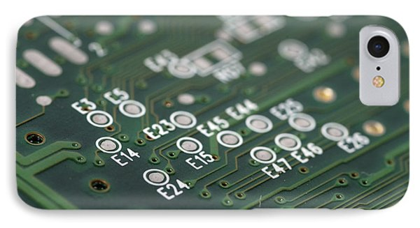 Green Printed Circuit Board Closeup Phone Case by Matthias Hauser