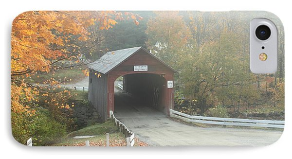Green River Covered Bridge Guilford Vermont Autumn Fog IPhone Case by John Burk