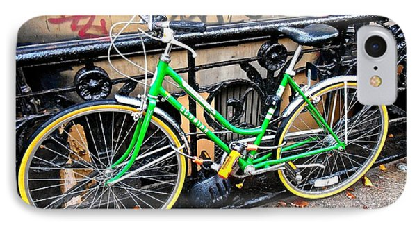 Green Schwinn Bike  Nyc IPhone Case by Joan Reese