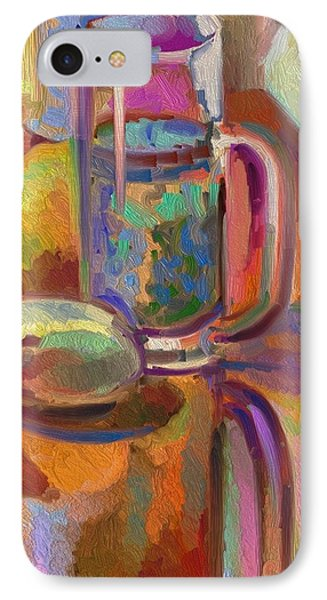 IPhone Case featuring the digital art Green Tea On Piano Bench by Clyde Semler