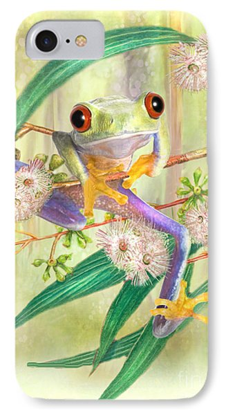 IPhone Case featuring the digital art Green Tree Frog by Trudi Simmonds