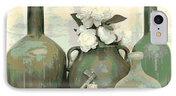 Green Vases Still Life IPhone Case by Marsha Heiken