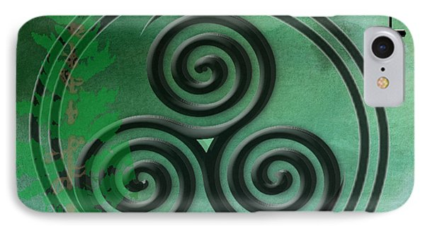IPhone Case featuring the digital art Green Watercolor Ailim Celtic Symbol by Kandy Hurley