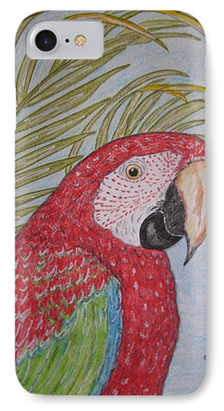 IPhone Case featuring the painting Green Winged Macaw by Kathy Marrs Chandler