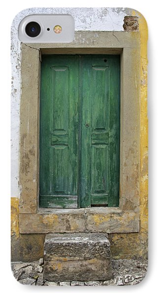 Green Wood Door With Hand Carved Stone Against A Texured Wall In The Medieval Village Of Obidos Phone Case by David Letts