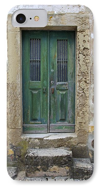 Green Wood Door With Hand Carved Stone In The Medieval Village Of Obidos Phone Case by David Letts