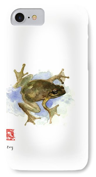 Green Yellow Blue Frog Lake River Animal World Water Colors Jewel Collection IPhone Case by Johana Szmerdt