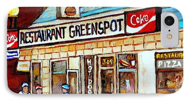 Greenspot Restaurant Notre Dame Street  South West Montreal Paintings Winter Hockey Scenes St. Henri IPhone Case by Carole Spandau