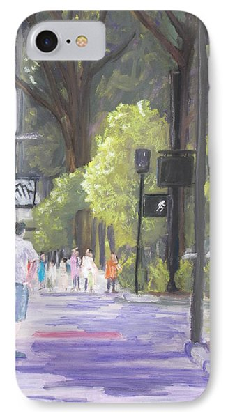 IPhone Case featuring the pastel Greenville Street Scene by Robert Decker