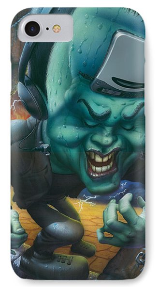 Blank Greeting Card Frankinstein Playing The Air Guitar IPhone Case