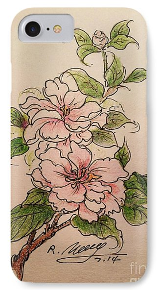 IPhone Case featuring the drawing Greeting Flower by Rose Wang