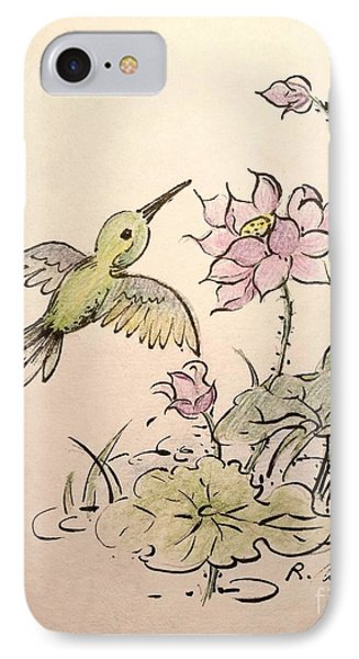 Greeting Hummingbird IPhone Case by Rose Wang