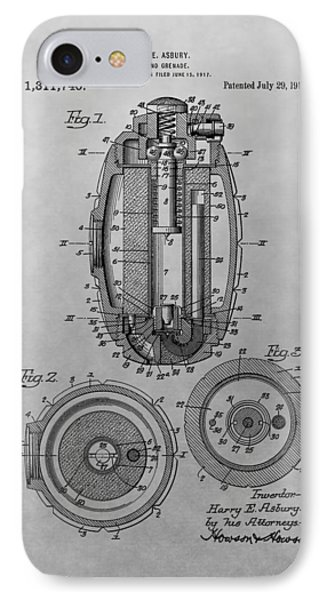 Grenade Patent Drawing IPhone Case by Dan Sproul