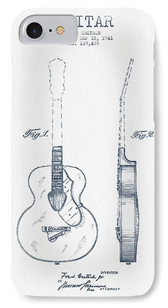 Gretsch Guitar Patent Drawing From 1941 - Blue Ink Phone Case by Aged Pixel