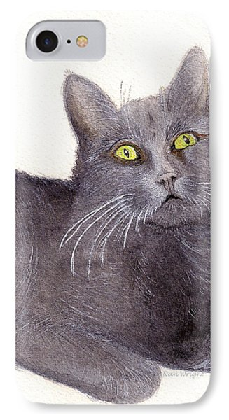 IPhone Case featuring the painting Grey Cat by Nan Wright