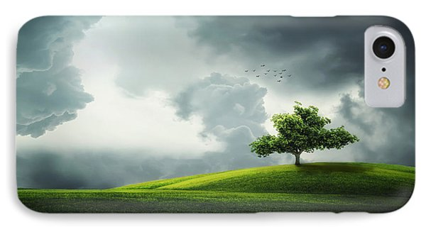 Grey Clouds Over Field With Tree IPhone Case by Bess Hamiti