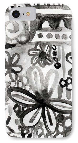 Grey Garden- Abstract Floral Painting IPhone Case by Linda Woods