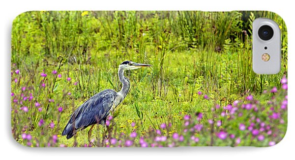 IPhone Case featuring the photograph Grey Heron Stalking In Margins. by Paul Scoullar