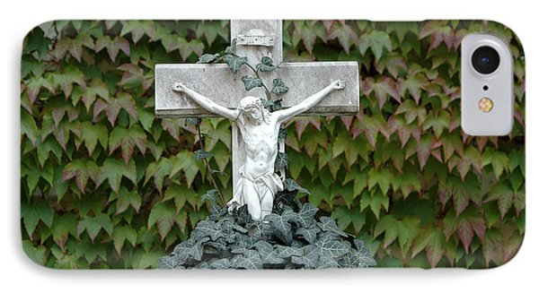 Grey Marmoreal Cross With Trailing Ivy Phone Case by Angela Kail